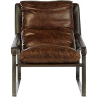 Product photograph showing Bexley Genuine Distressed Brown Leather Lounge Chair