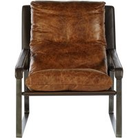 Product photograph showing Bexley Genuine Distressed Light Brown Leather Lounge Chair