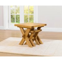 Product photograph showing Mark Harris Avignon Solid Oak Nest Of Tables