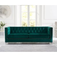 Product photograph showing Mark Harris New England Green Velvet 4 Seater Sofa