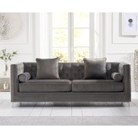 Product photograph showing Mark Harris New England Grey Velvet 4 Seater Sofa