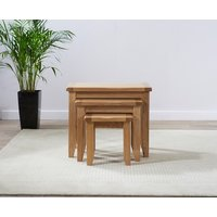 Product photograph showing Mark Harris York Oak 3 Nest Of Tables