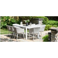 Product photograph showing Maze Lounge Outdoor Ambition Lead Chine Fabric 8 Seat Rectangular Dining Set With Fire Pit Table