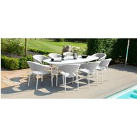Product photograph showing Maze Lounge Outdoor Pebble Lead Chine Fabric 8 Seat Oval Dining Set