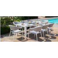 Maze Lounge Outdoor Pebble Lead Chine Fabric 8 Seat Rectangular Dining Set with Fire Pit Table