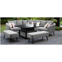Product photograph showing Maze Lounge Outdoor Ambition Flanelle Fabric Square Corner Dining Set With Rising Table