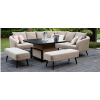 Product photograph showing Maze Lounge Outdoor Ambition Taupe Fabric Square Corner Dining Set With Rising Table