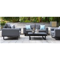 Product photograph showing Maze Lounge Outdoor Ethos Flanelle Fabric 2 Seat Sofa Set With Coffee Table