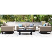 Maze Lounge Outdoor Ethos Taupe Fabric 2 Seat Sofa Set with Coffee Table