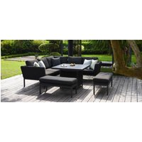 Product photograph showing Maze Lounge Outdoor Pulse Charcoal Fabric Square Corner Dining Set With Fire Pit Table
