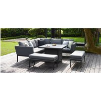 Product photograph showing Maze Lounge Outdoor Pulse Flanelle Fabric Square Corner Dining Set With Fire Pit Table