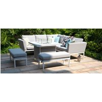 Product photograph showing Maze Lounge Outdoor Pulse Lead Chine Fabric Square Corner Dining Set With Rising Table