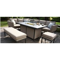 Product photograph showing Maze Lounge Outdoor Pulse Taupe Fabric Rectangular Corner Dining Set With Fire Pit Table