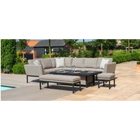 Product photograph showing Maze Lounge Outdoor Pulse Taupe Fabric Rectangular Corner Dining Set With Rising Table