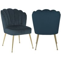 Product photograph showing Pippa Petrol Velvet And Gold Dining Chair Pair