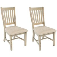 Rowico Saltash Slatted Dining Chair with Neutral Seat Pad (Pair) - Reclaimed Pine