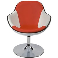 Product photograph showing Amblar Faux Leather Chair - White And Red