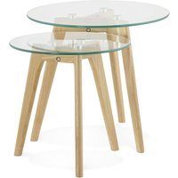 Product photograph showing Salle Nest Of Tables - Glass And Oak