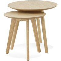 Product photograph showing Wallasey Nest Of Tables - Natural And Oak