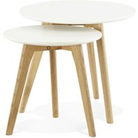 Product photograph showing Wallasey Nest Of Tables - White And Oak