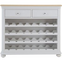 Product photograph showing Annecy Wine Cabinet - Oak And Soft Grey Painted