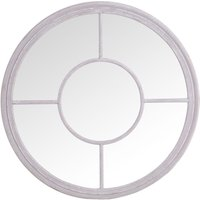 Product photograph showing Grey Round Window Mirror - Dia 100cm
