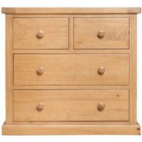 Product photograph showing Oakley Waxed Solid Pine Kids Chest Of Drawer - 2 Over 2 Drawer