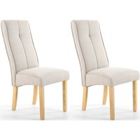 Product photograph showing Shankar Linea Calico Cream Linen Effect Fabric Accent Dining Chair Pair