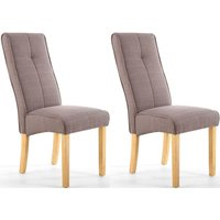 Product photograph showing Shankar Cappuccino Brown Upholstered Linea Fabric Dining Chair Pair