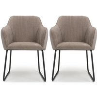 Product photograph showing Shankar Celeste Beige Chenille Fabric Dining Chair Pair