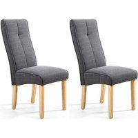 Product photograph showing Shankar Linea Falcon Grey Linen Effect Fabric Accent Dining Chair Pair