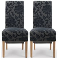 Product photograph showing Shankar Krista Charcoal Baroque Velvet Roll Back Accent Dining Chair Pair
