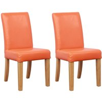 Product photograph showing Shankar Orange Bambi Kids Leather Match Dining Chair Pair