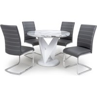 Shankar Saturn Grey and White High Gloss Marble Effect Round Dining Table with 4 Callisto Grey Dining Chairs