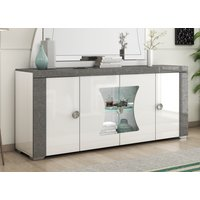 Product photograph showing Alfa White And Grey Marble 4 Door Italian Sideboard With Led Light
