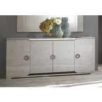 Product photograph showing Angelo Grey Marble 4 Door Italian Sideboard With Led Light