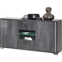 Product photograph showing Augusta Oak 3 Door Italian Sideboard With Led Light