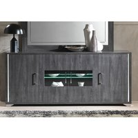 Product photograph showing Augusta Oak 4 Door Italian Sideboard With Led Light