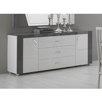 Product photograph showing Delia White And Grey 2 Door 3 Drawer Italian Sideboard