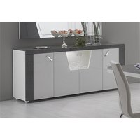 Product photograph showing Delia White And Grey 4 Door Italian Sideboard With Led Light