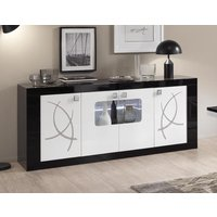 Product photograph showing Enna Black And White 4 Door Italian Sideboard With Led Light