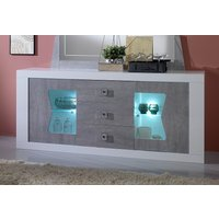Product photograph showing Flavia White And Grey 2 Door 3 Drawer Italian Sideboard With Led Light