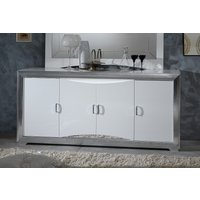 Product photograph showing Leni White And Silver 4 Door Italian Sideboard With Led Light