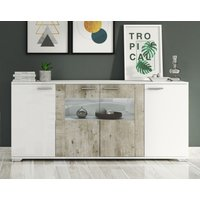 Product photograph showing Messina White And Concrete Grey 4 Door Italian Sideboard With Led Light
