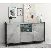 Product photograph showing Milo Grey Marble Effect 3 Door Italian Sideboard With Led Light