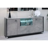 Product photograph showing Milo Grey Marble Effect 4 Door Italian Sideboard With Led Light