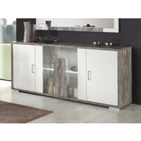 Product photograph showing Naro Dove Grey And White 4 Door Italian Sideboard With Led Light