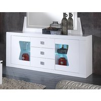 Product photograph showing Ribera White 2 Door 3 Drawer Italian Sideboard With Led Light