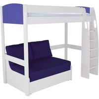 Product photograph showing Stompa Blue High Sleeper With Double Sofa Bed