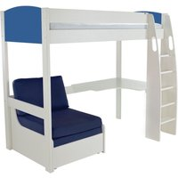 Product photograph showing Stompa Blue High Sleeper Bed With Desk And Chair